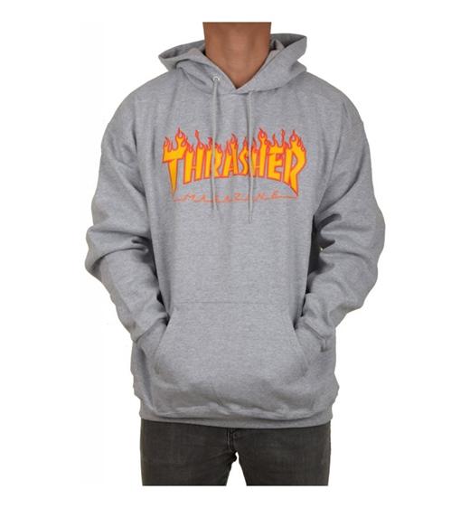 Thrasher Hoodie Flame Grau
