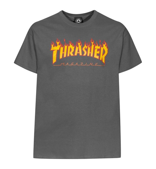 "Thrasher T-Shirt ""Flame"" charcoal"