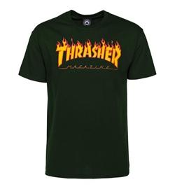 Thrasher T-Shirt Flame dunkelgrün