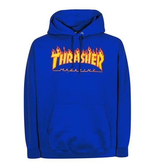 Thrasher Hoodie Flame, royal blue